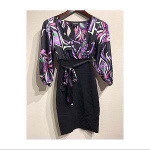 bebe   Black and Purple knee length dress Sz XS